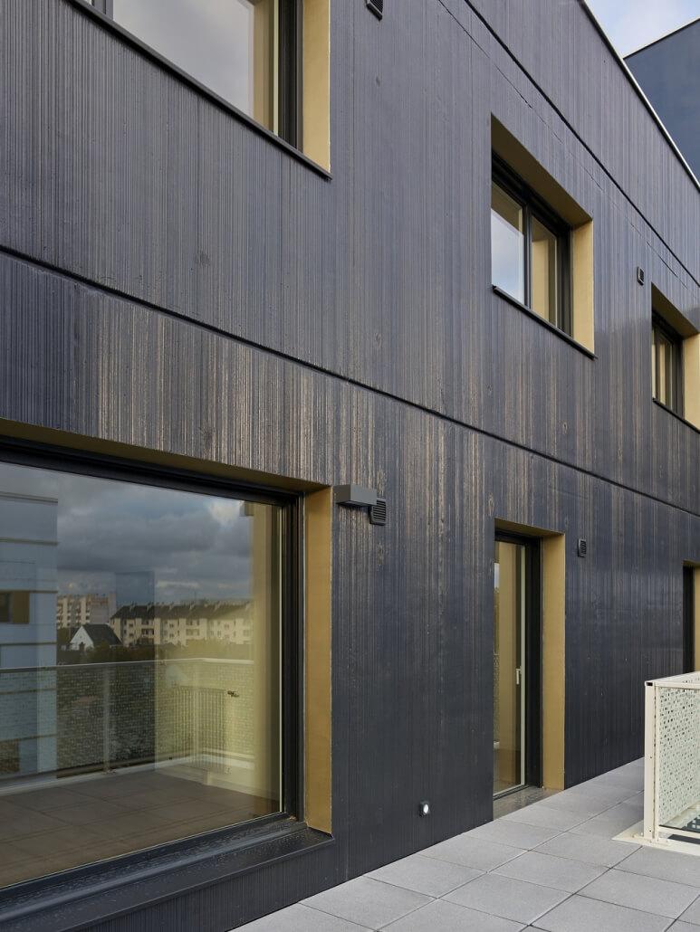 Réalisation façade extérieure bois immeuble